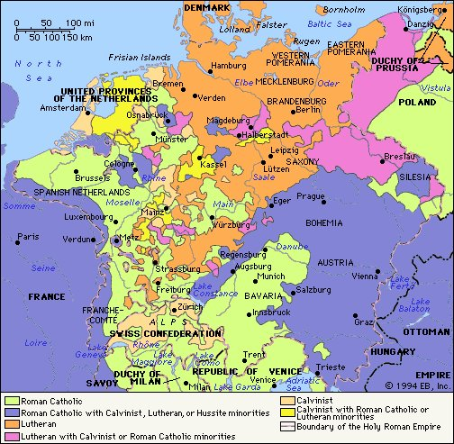 Карта конфессий населения Священной Римской империи (1650 год)